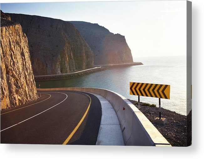Curve Acrylic Print featuring the photograph Oman, Khasab, Road Round Mountain By by Christian Adams