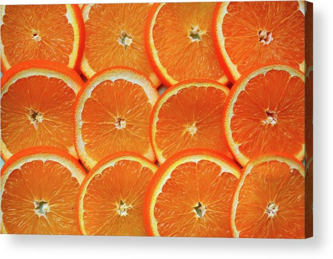 Orange Color Acrylic Print featuring the photograph Orange Fruit Slices by D. Sharon Pruitt Pink Sherbet Photography