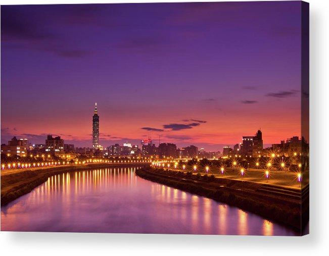 Orange Color Acrylic Print featuring the photograph Orange Sunset by © Copyright 2011 Sharleen Chao