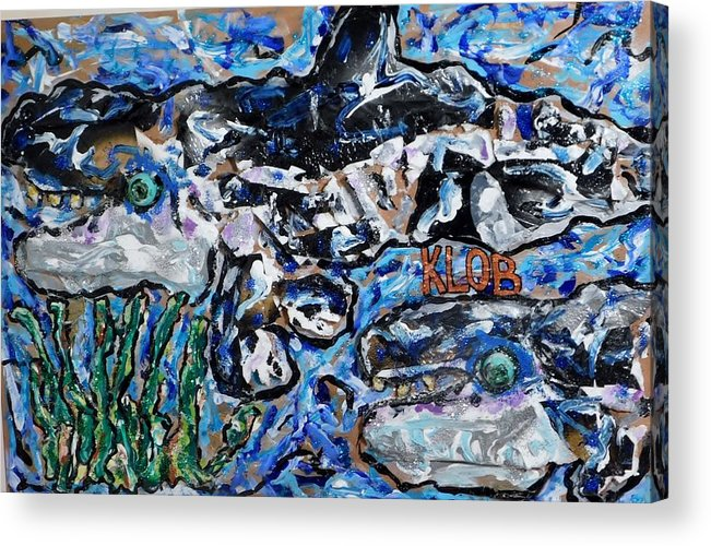 Orca Acrylic Print featuring the mixed media Orcas Swimming into Seagrass by Kevin OBrien