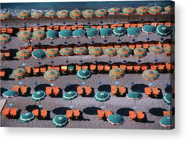 Shadow Acrylic Print featuring the photograph Overhead Of Umbrellas, Deck Chairs On by Dallas Stribley