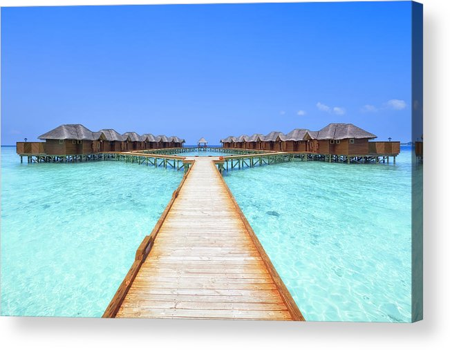 Beach Hut Acrylic Print featuring the photograph Overwater Bungalows Boardwalk by Cinoby
