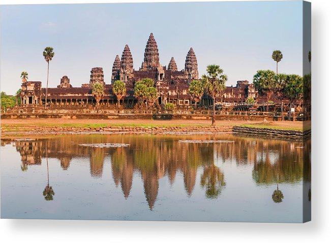 Hinduism Acrylic Print featuring the photograph Panorama Of Angkor Wat Cambodia Ruins by Leezsnow