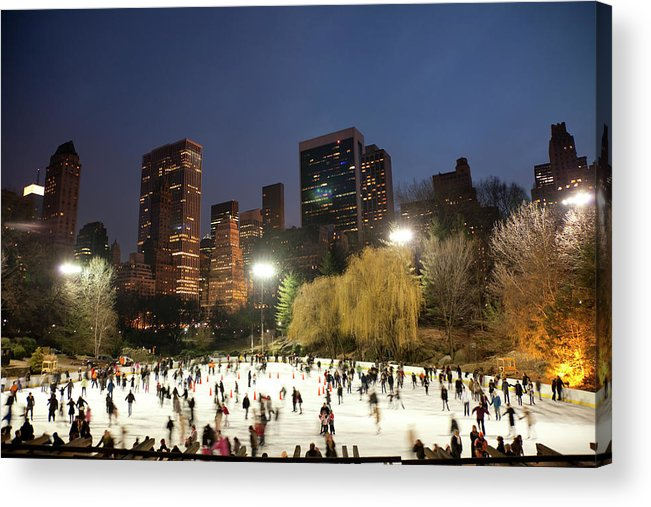 People Acrylic Print featuring the photograph Panorama Of People Ice Skating In by Studiokiet