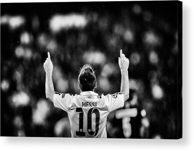 Grass Acrylic Print featuring the photograph Paris Saint-germain V Fc Barcelona - by Dean Mouhtaropoulos