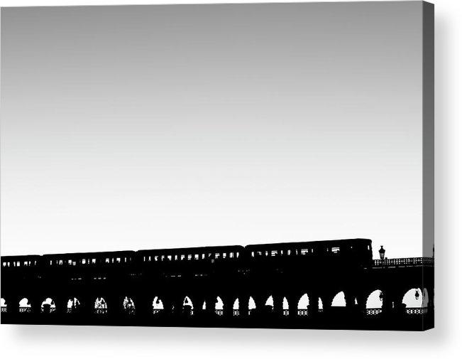 Passenger Train Acrylic Print featuring the photograph Paris Urban Metro Commuter Train by Bunhill