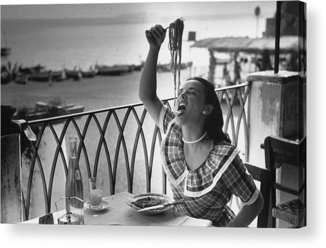 Italian Food Acrylic Print featuring the photograph Pasta With Gusto by Bert Hardy