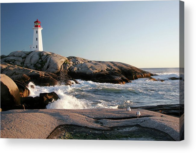 Water's Edge Acrylic Print featuring the photograph Peggys Cove Lighthouse & Waves by Cworthy