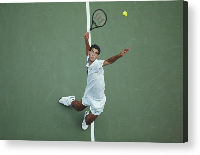 Tennis Acrylic Print featuring the photograph Pete Sampras At 1991 Us Open by Leo Mason/popperfoto