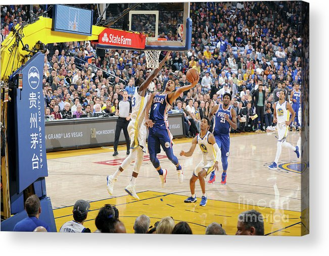 Nba Pro Basketball Acrylic Print featuring the photograph Philadelphia 76ers V Golden State by Andrew D. Bernstein
