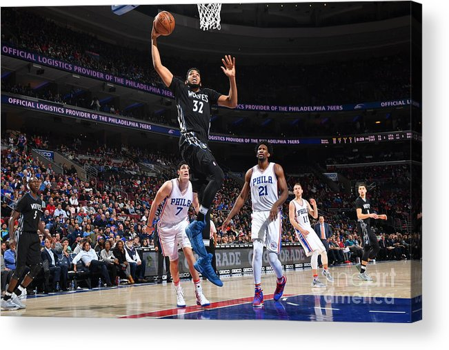 Nba Pro Basketball Acrylic Print featuring the photograph Philadelphia 76ers V Minnesota by Jesse D. Garrabrant