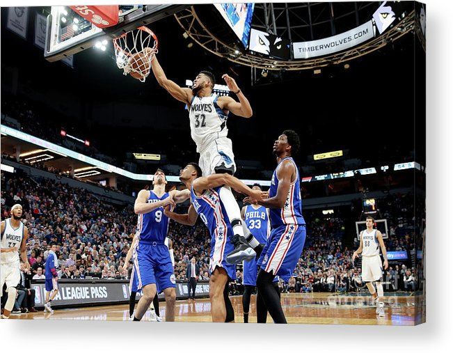 Nba Pro Basketball Acrylic Print featuring the photograph Philadelphia 76ers V Minnesota by Jordan Johnson
