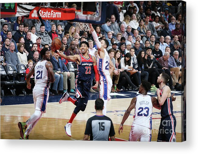 Nba Pro Basketball Acrylic Print featuring the photograph Philadelphia 76ers V Washington Wizards by Stephen Gosling
