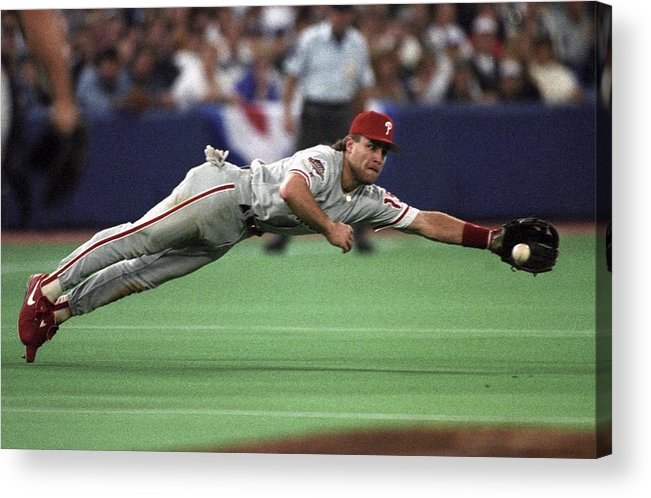 American League Baseball Acrylic Print featuring the photograph Philadephia Phillies V Toronto Blue Jays by Ronald C. Modra/sports Imagery