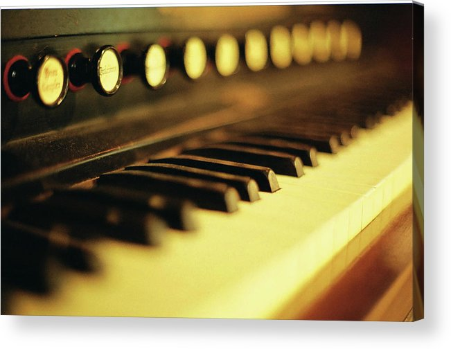 Piano Acrylic Print featuring the photograph Piano Keys And Buttons by Photographer, Loves Art, Lives In Kyoto