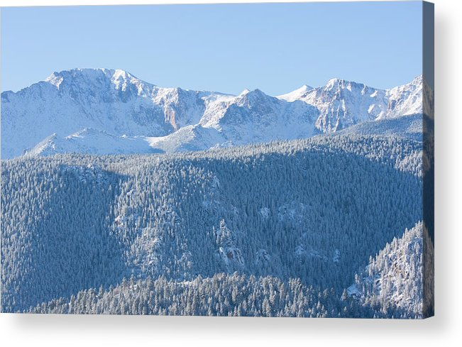 Extreme Terrain Acrylic Print featuring the photograph Pikes Peak In Fresh Snow by Swkrullimaging
