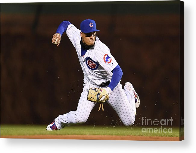 American League Baseball Acrylic Print featuring the photograph Pittsburgh Pirates V Chicago Cubs by Stacy Revere