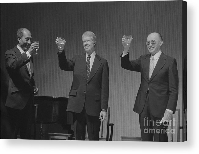 Following Acrylic Print featuring the photograph Political Leaders Following State Dinner by Bettmann