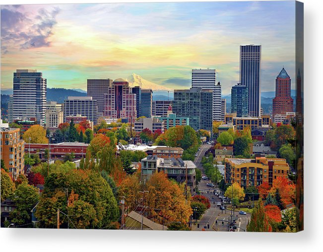 Viewpoint Acrylic Print featuring the photograph Portland Oregon Downtown Cityscape In by David Gn Photography