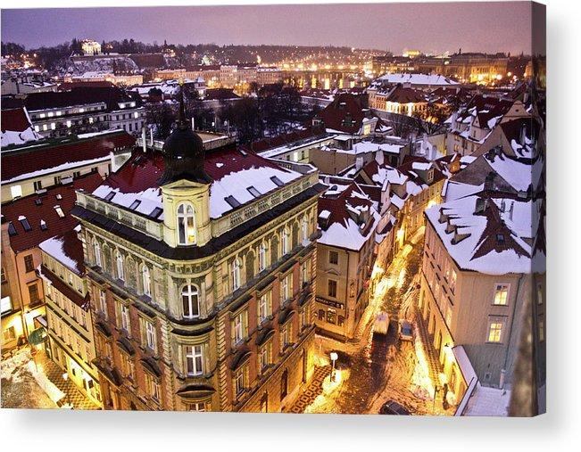 Snow Acrylic Print featuring the photograph Prague Lights by Usman Baporia