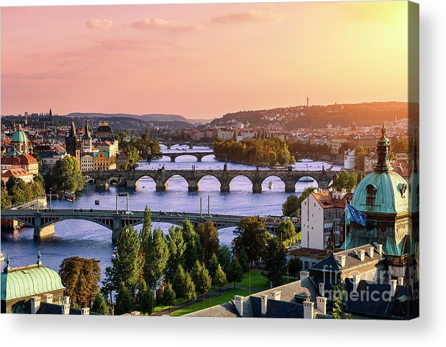 Old Town Acrylic Print featuring the photograph Prague, Over View Of City And River by Sylvain Sonnet
