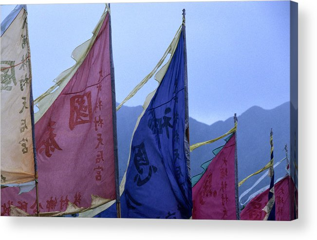 Chinese Culture Acrylic Print featuring the photograph Prayer Flags To The Sea Goddess Blow In by Lonely Planet