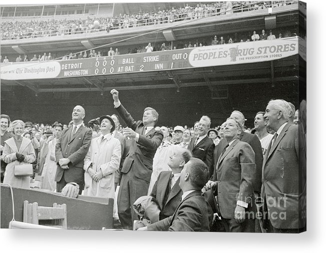 Crowd Of People Acrylic Print featuring the photograph President Kennedy Tossing Out First by Bettmann