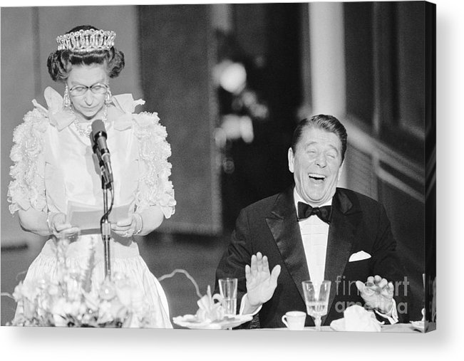 Following Acrylic Print featuring the photograph President Reagan Laughing At Queens by Bettmann