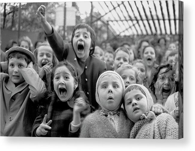 Timeincown Acrylic Print featuring the photograph Puppet Audience by Alfred Eisenstaedt
