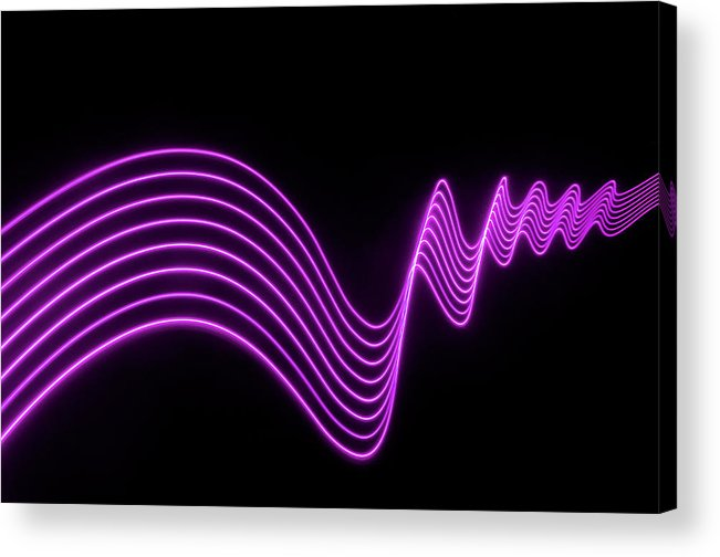 Laser Acrylic Print featuring the photograph Purple Abstract Lights Trails And by John Rensten