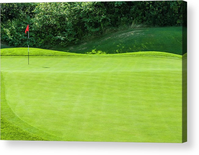 The End Acrylic Print featuring the photograph Putting Green And Flag At A Golf Course by Stuart Dee