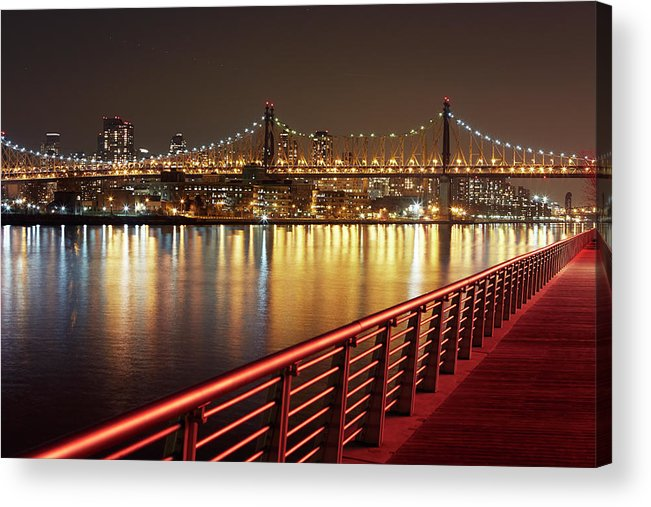 Built Structure Acrylic Print featuring the photograph Queensboro Bridge At Night by Allan Baxter