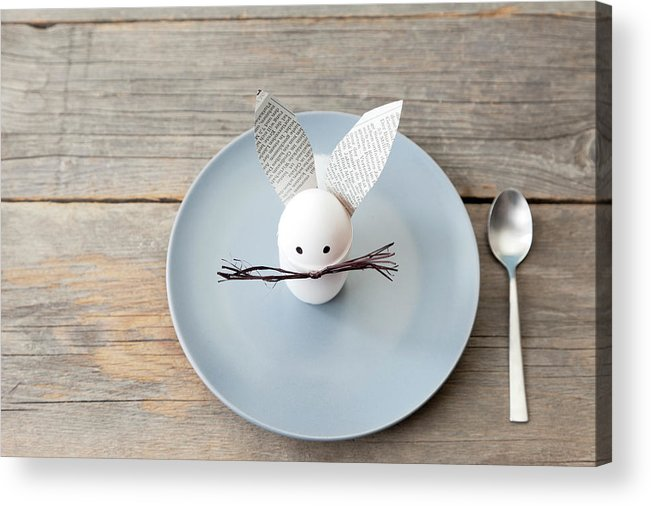 Holiday Acrylic Print featuring the photograph Rabbit Decoration On Plate by Stefanie Grewel
