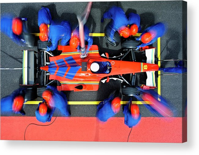 Viewpoint Acrylic Print featuring the photograph Racecar Driver At The Pit Stop by Fuse