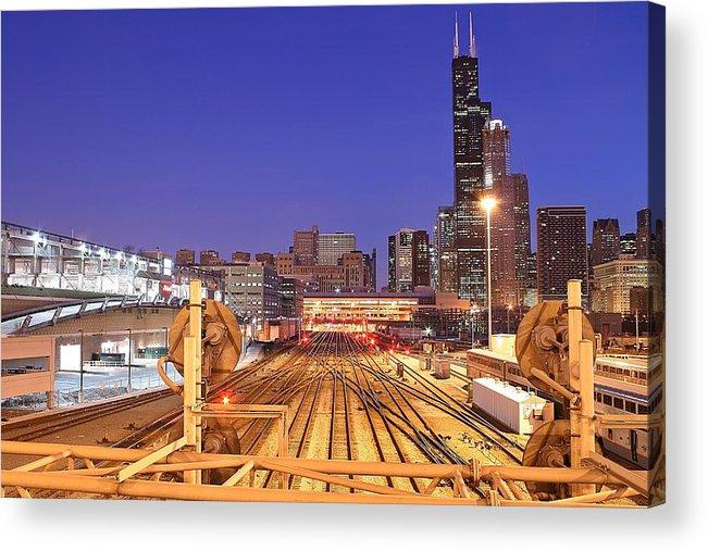 Railroad Track Acrylic Print featuring the photograph Rail Tracks by Joseph Balynas