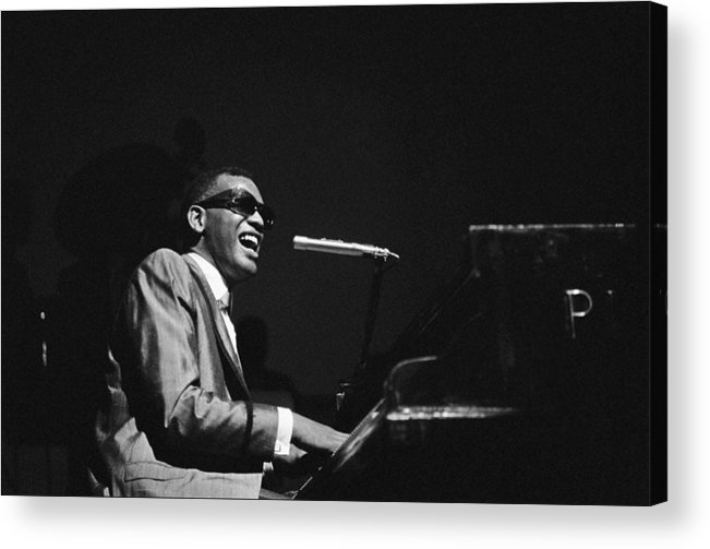 Ray Charles - Musician Acrylic Print featuring the photograph Ray Charles Behind The Scence At The by Reporters Associes