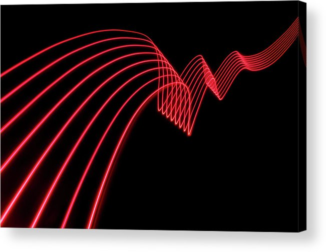 Laser Acrylic Print featuring the photograph Red Abstract Coloured Lights Trails And by John Rensten