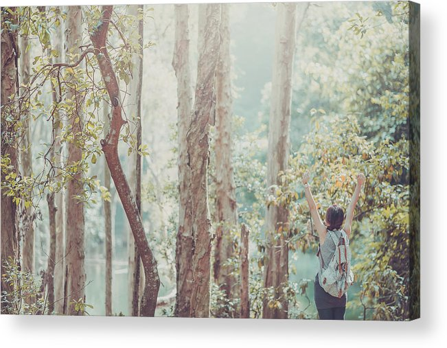Three Quarter Length Acrylic Print featuring the photograph Relaxing In Nature By Stretching And by D3sign