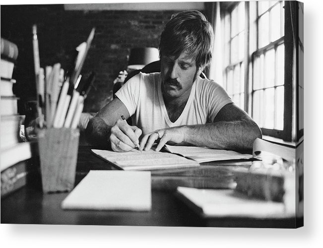 Timeincown Acrylic Print featuring the photograph Robert Redford Writing At Desk by John Dominis