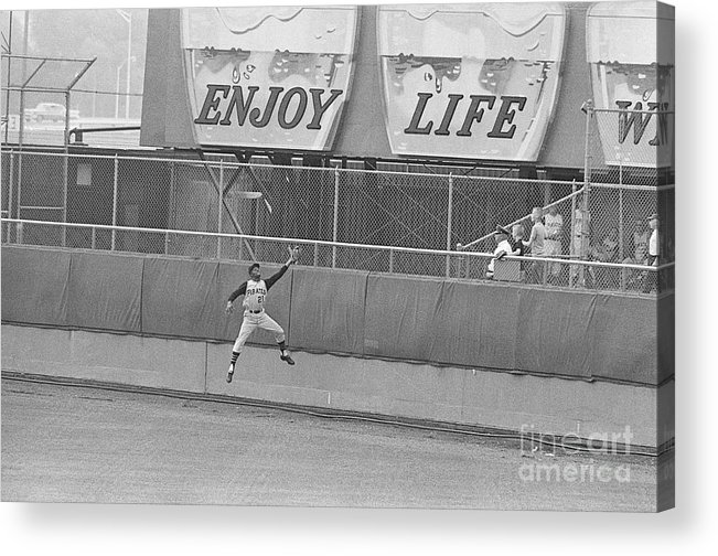 People Acrylic Print featuring the photograph Roberto Clemente Catching Ball by Bettmann