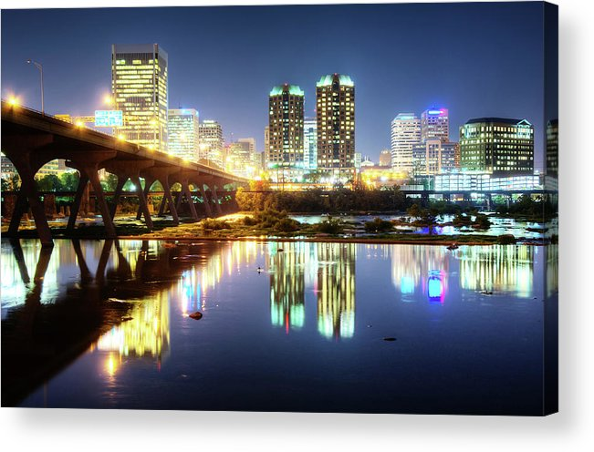 Tranquility Acrylic Print featuring the photograph Rva Summer Night - Richmond Va On The by Sky Noir Photography By Bill Dickinson