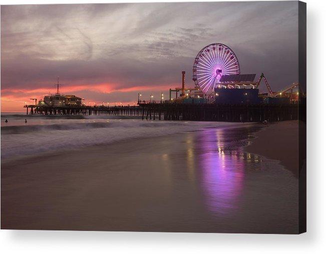 California Acrylic Print featuring the photograph Santa Monica Pier by Skyhobo