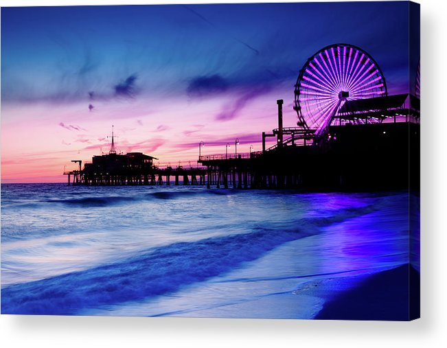 Commercial Dock Acrylic Print featuring the photograph Santa Monica Pier With Ferris Wheel by Pawel.gaul