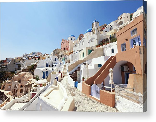 Steps Acrylic Print featuring the photograph Santorini, Churches And Houses by Richmatts