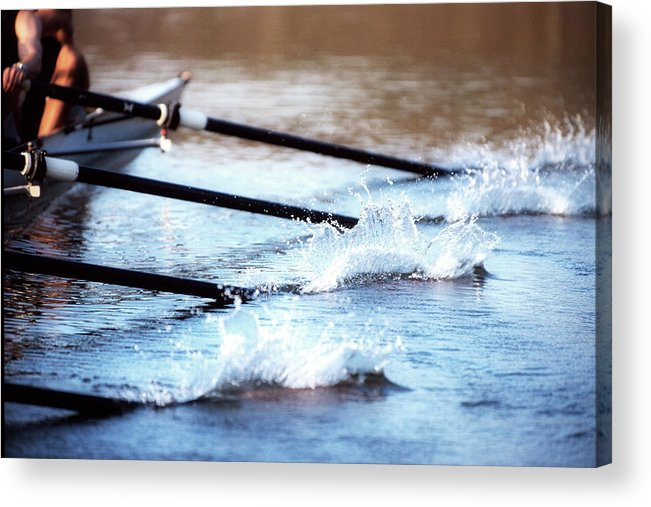 Sport Rowing Acrylic Print featuring the photograph Sculling Team Rowing On Water by Robert Llewellyn