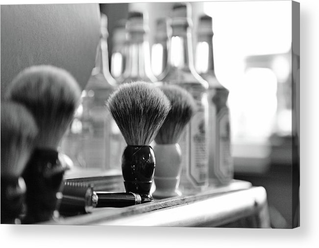 Office Acrylic Print featuring the photograph Shaving Brushes At Barbershop by Lorado