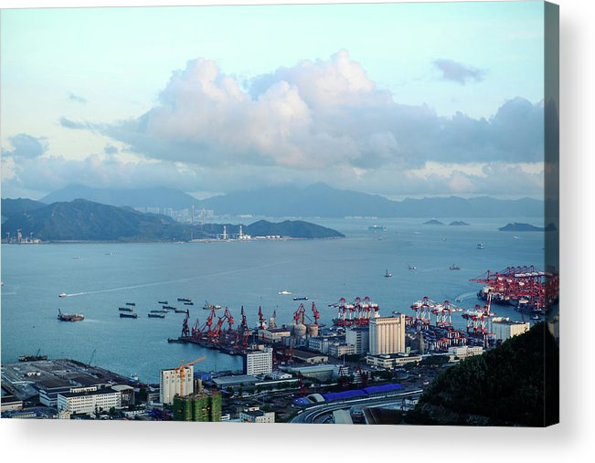Tranquility Acrylic Print featuring the photograph Shenzhen Bay And Shekou Port by Wilson.lau