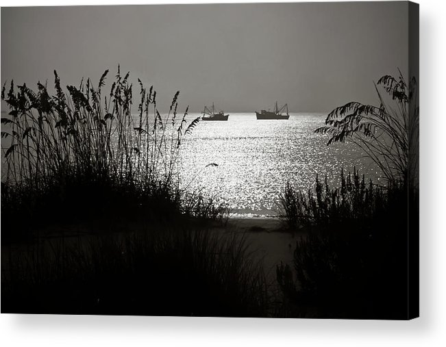 Tranquility Acrylic Print featuring the photograph Silhouettes Of Sea Oats And Shrimp Boats by Joseph Shields