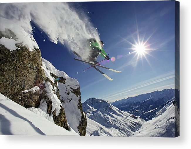 Young Men Acrylic Print featuring the photograph Skier In Midair On Snowy Mountain by Michael Truelove
