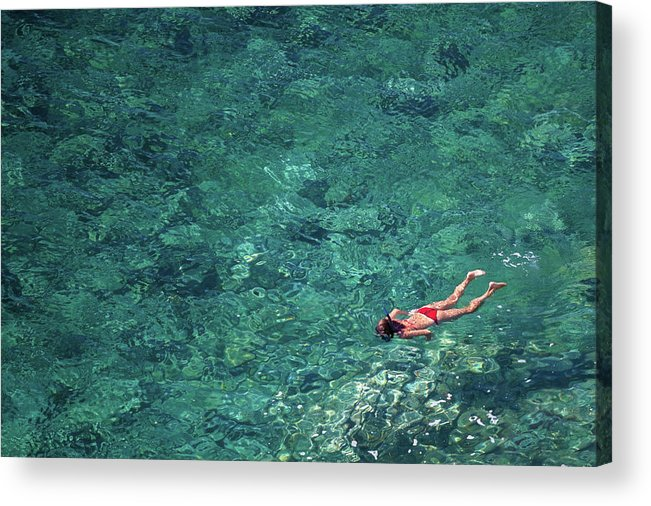 Recreational Pursuit Acrylic Print featuring the photograph Snorkeling In The Mediterranean Sea by Photovideostock